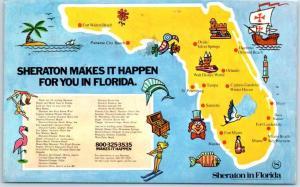 Boca Raton Florida Postcard SHERATON INN West - Florida Map - 1973 Cancel