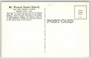 Kansas City Missouri~St Francis Xavier Catholic Church Interior~Jesuit~1951 B&W