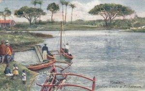 HONOLULU , Hawaii , 1917 ; Native Boats & Fishermen ; TUCK 2713