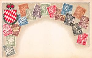 Monaco, Classic Stamps in Actual Colors, Early Embossed Postcard, Unused
