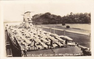 Panama Canal U S Aircraft Carrier In Miraflores Lock Real Photo sk3417