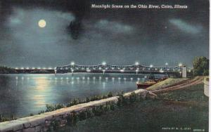 Illinois Cairo Moonlight Scene On The Ohio River Curteich