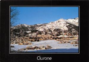 Italy Clusone Panorama Winter General view Mountain