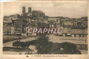 Old Postcard Verdun and Place Chevert Panoramic view