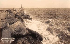Crescent City California Breakwater Real Photo Antique Postcard J78760