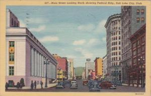 Utah Salt Lake City Main Street Looking North Showing Federal Building 1950 C...