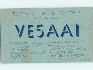 1930s QSL RADIO CARD Vancouver Island British Columbia BC AH3274