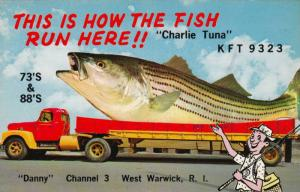 Exaggerated fish on semi-truck, ´This is how the fish run Here!! Charlie Tu...