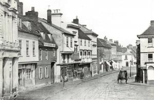 Repro Vintage 1866 Postcard Marketplace & High Street, Hitchin, Hertfordshire 4U