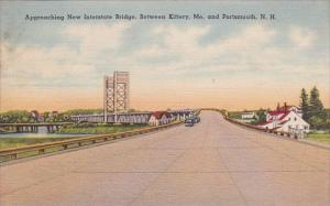 Approaching New Interstate Bridge Between Kittery Maine And Portsmouth New Ha...