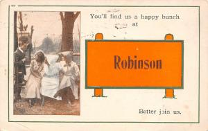 You'll Find Us a Happy Bunch at Robinson Illinois~Sunbonnet Gals~1915 Pennant