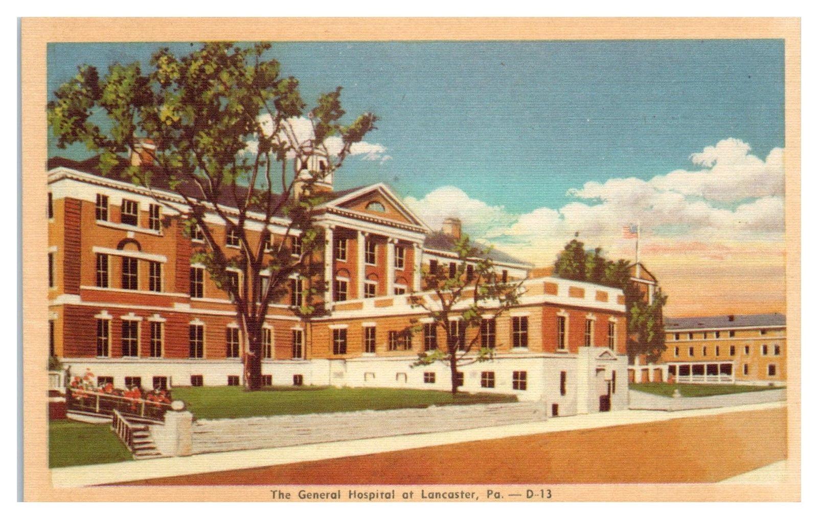 Mid-1900s General Hospital at Lancaster, PA Postcard