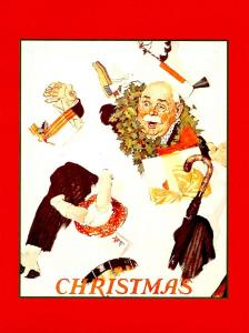Norman Rockwell (Repro) - Christmas: Gramps in Snow  (Size: 6.625 X 4.625)