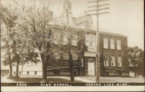 Hoawrd Lake MN High School c1910 Real Photo Postcard