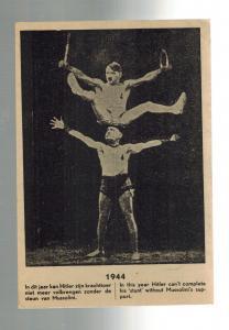 1944 Mint Holland Anti Fascist postcard WW2 Hitler Mussolini Acrobats