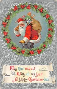 F24/ Santa Claus Merry Christmas Postcard c1910 Silver Wreath 1