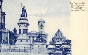 Lick Monument, City Hall Square, San Francisco Cyanotype c1910s Vintage Postcard
