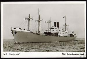 Royal Dutch Lloyd, M.S. Modjokerto (1940s) RPPC