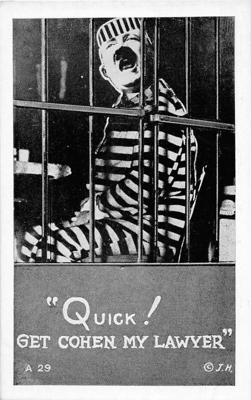 F62/ Patriotic Postcard Anti-Hitler WWII c40s Propaganda Jail Prison Lawyer 6