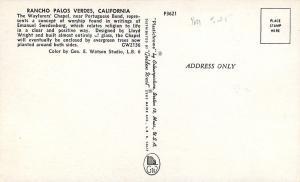 Rancho Palos Verdes, California~The Wayfarers Chapel Interior 1950s Postcard