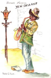 Louisiana New Orleans Street Musician By Mable G Hust