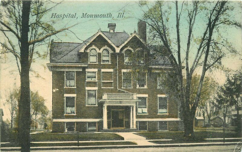 Hospital Monmouth Illinois hand colored Miller Cash Bargain Postcard 20-2495