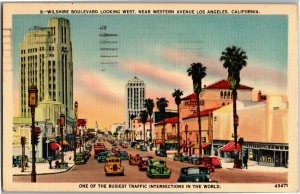 Wilshire Boulevard Looking West Near Western Los Angeles CA c1942 Postcard A25