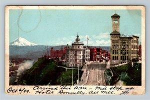 Tacoma WA-Washington, Steam Engine, Snow Covered Peak, Bridge, Vintage Postcard