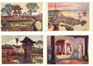 VIETNAM, INDO-CHINA COMPLETE SET VUIBERT 12 CPA Incl.FOLDER (L2855)