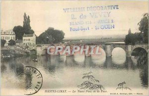 Old Postcard Mantes Limay Old Bridge seen from front