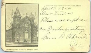 Oberlin, Ohio Postcard Universalist Church Building / Street View 1906 Cancel