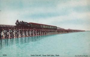 Railroad Bridge with Train , Lucin Cut-off , GREAT SALT LAKE , Utah , 00-10s