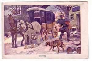Beautiful Winter Scene with Dog and Covered Horse and Wagon, Erfulung, Germany