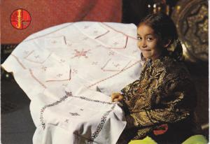 The Art of the Embroideries of Fes, Little Girl Showing a Piece of Work, MEDI...
