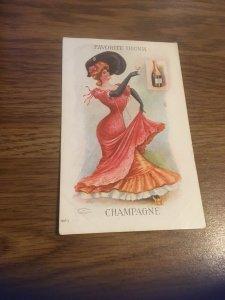 Antique Postcard- Favorite Drink - Champagne