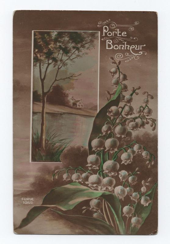 ART POSTCARD 1910 years FRANCE FANTASY FLOWERS LANDSCAPE COUNTRY SCENE