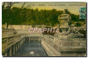 Old Postcard Nimes Jardins de la Fontaine Roman Baths
