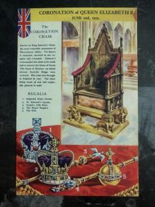 Mint England Picture Postcard PPC Coronation Chair Queen Elizabet II QEII