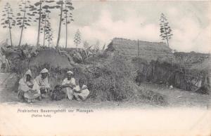 MAZAGAN MOROCCO~ARABISCHES BAUERNGEHOFT~NATIVE HUTS~R HELRICH POSTCARD 1907