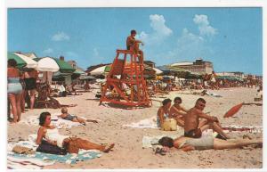 Beach Scene Crowd Ocean City Maryland postcard