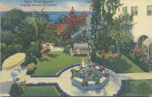 Patio, Hotel Laguna, Laguna Beach, California, early linen postcard, Used