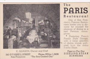 The Paris Restaurant O'Farrell Street San Francisco California
