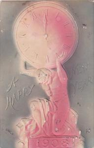 New Year Muscle Man Holding Clock On Shoulers 1908