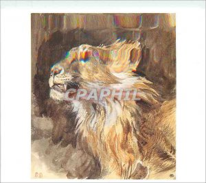 Modern Postcard Eugene Delacroix Head Lion roaring Watercolor strokes a pencil