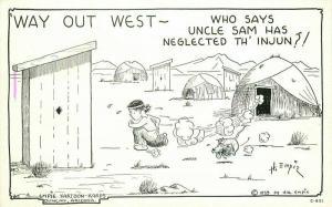 Comic Humor Empie Outhouse Indian Hogan 1939 Postcard Gloss Tone 3338