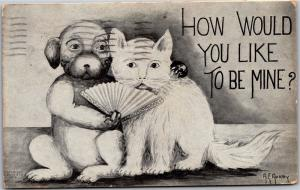 Dog with Cat, Fan How Would You Like To Be Mine? A.E. Avery Vintage Postcard L01