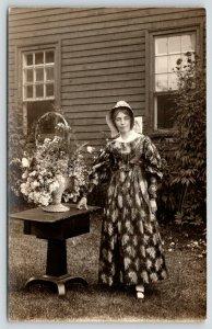 York Beach Maine~Flowery Gown Sunbonnet Woman~Flower Basket~Bldg~c1910 RPPC