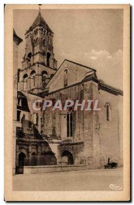 Old Postcard Brantome Bell tower and main entrance of the Parish & # 39eglise