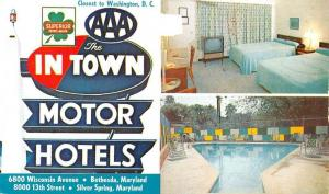 Bethesda Maryland The In Town Motor Hotel Multiview Vintage Postcard K89544