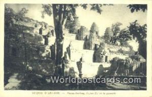 Ruines D'Angkor Cambodia, Cambodge Phnom Bakheng, Façade Est de la pyramide ...